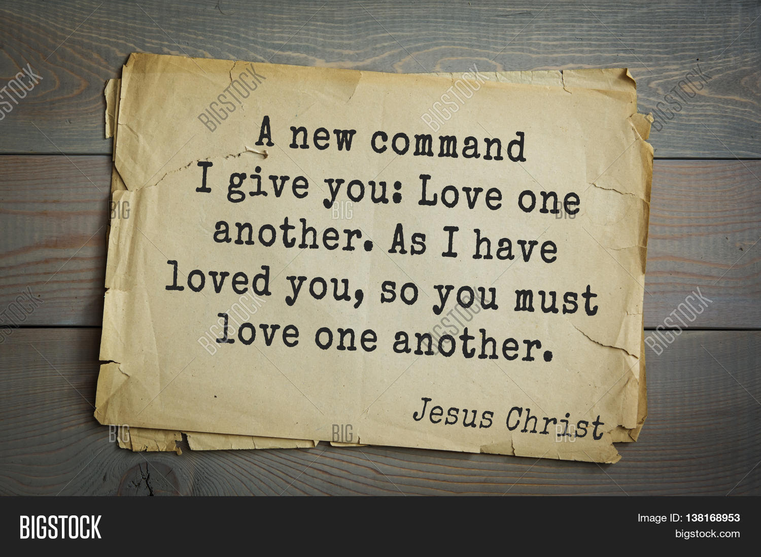 Jesus quote on old paper background A new mand I give you Love one