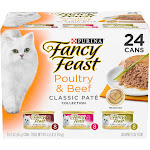 Purina Fancy Feast Pate Variety Pack Poultry & Beef Collection Wet Cat Food Cans - 3oz