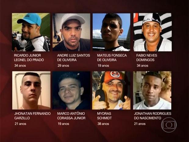 Oito pessoas morreram neste domingo na sede da torcida (Foto: Reprodução/TV Globo)