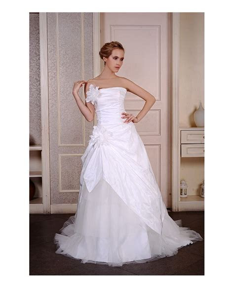 Ball Gown Strapless Sweep Train Satin Tulle Wedding Dress