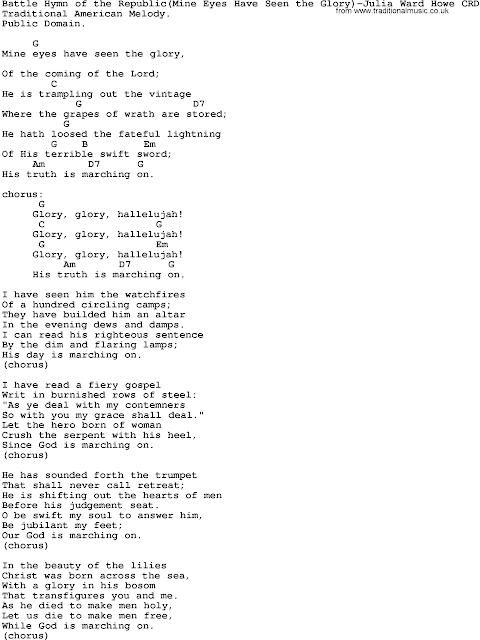 Mine Eyes Have Seen The Glory Lyrics And Chords