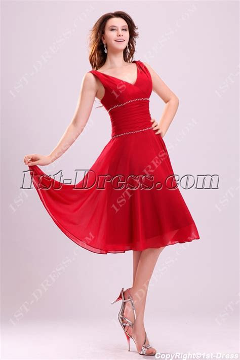 Light Red Chiffon Junior Prom Dress in Tea Length:1st