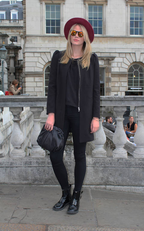 Suzanne wears: Shades: Spitalfields Market, Hat: Urban Outfitters, Jacket: Topshop, Bag: Vintage, Boots: H&M