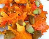 Edible Fall Leaves - qty 24- Fall leaves- 12 qty acorns great for cupcakes, birthday partys, wedding cakes, wedding showers - SugarAndStripesCo