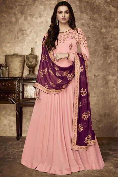 Buy Designer Wedding Function Wear Pink Georgette Dress