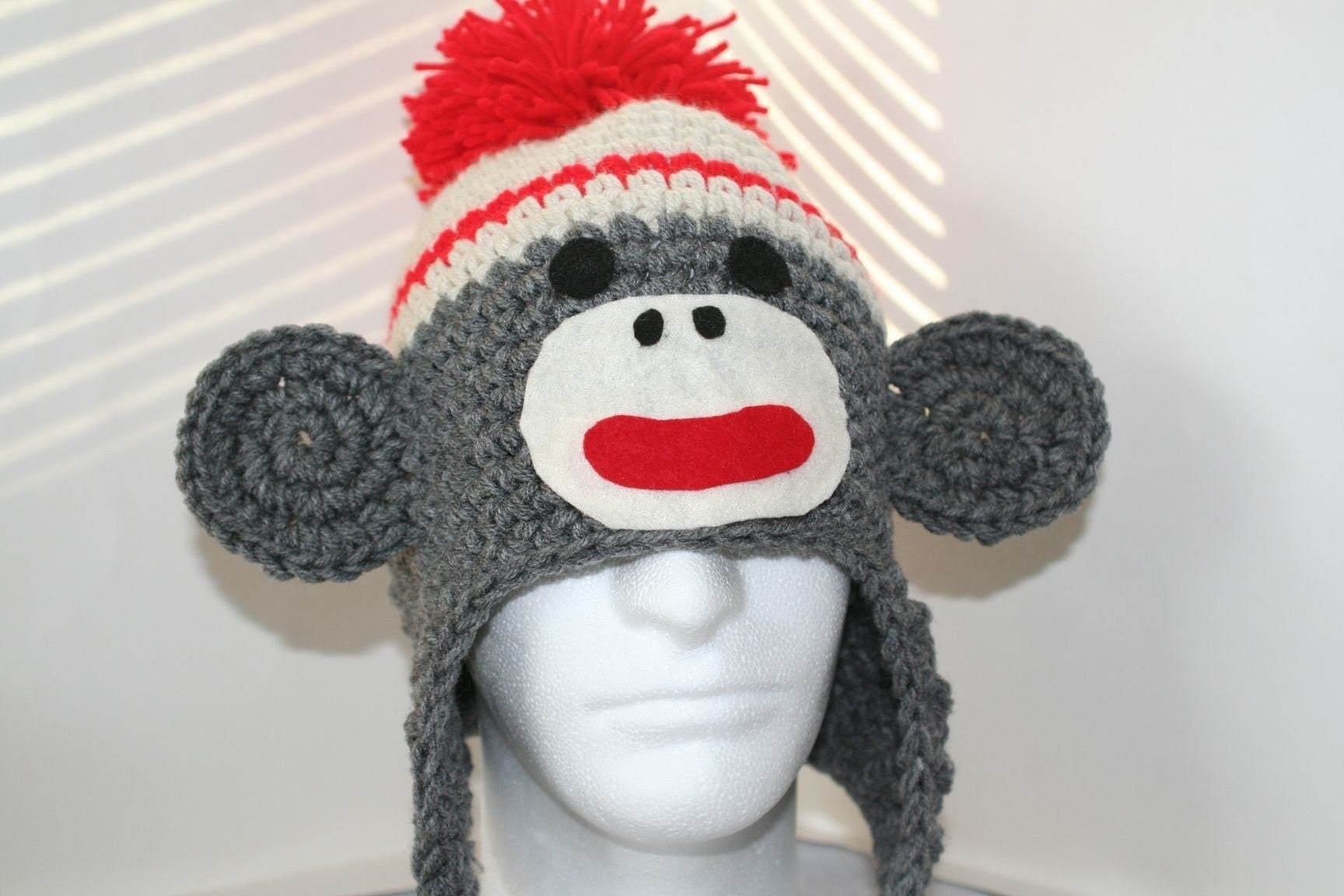 Sock monkey hat with a flat face - unique handmade character hat made to look like a  sock monkey