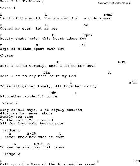 Here I Am To Worship Lyrics And Chords Pdf
