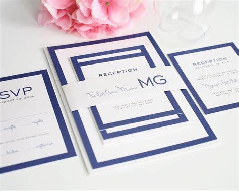 Modern Wedding Invitations in Blue with Monogram ? Wedding
