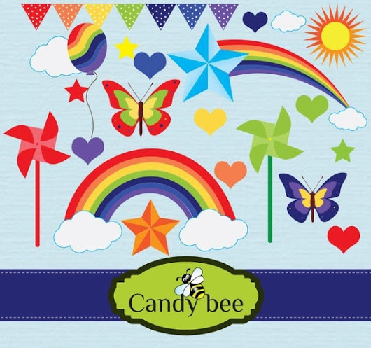 Rainbow-Digital-Clip art Set/INSTANT by CandyBeeDesigns on Etsy