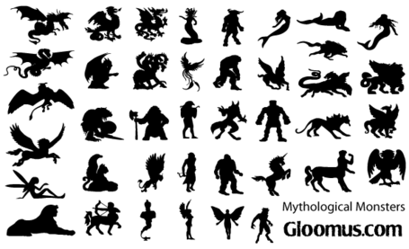 Vector Mythological Monsters Silhouettes, Vector File - Clipart.me