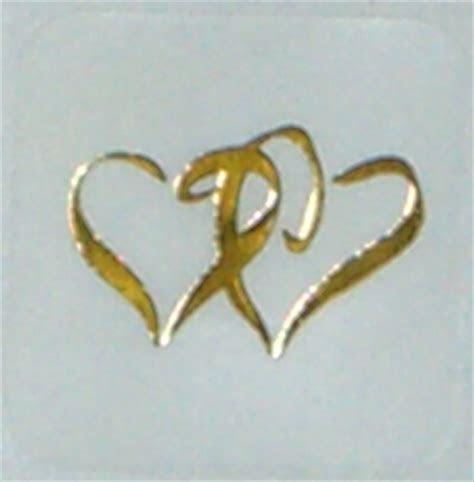 Double Heart Seals   Gold on Clear   pack of 25