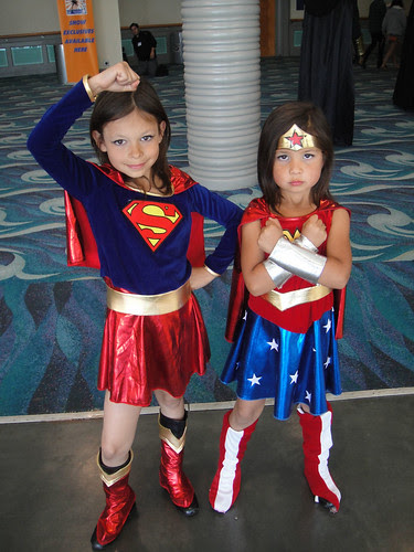 Long Beach Comic Expo 2011 - Little Supergirl and Wonder Woman