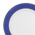 """Kaya Collection 10 Plates, 7.5"""" White with Gold Spiral on Blue Rim Plastic Appetizer/Salad Plates"""