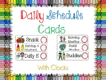 Classroom Daily Schedule Cards With Clocks by Holly Wasilewski ...