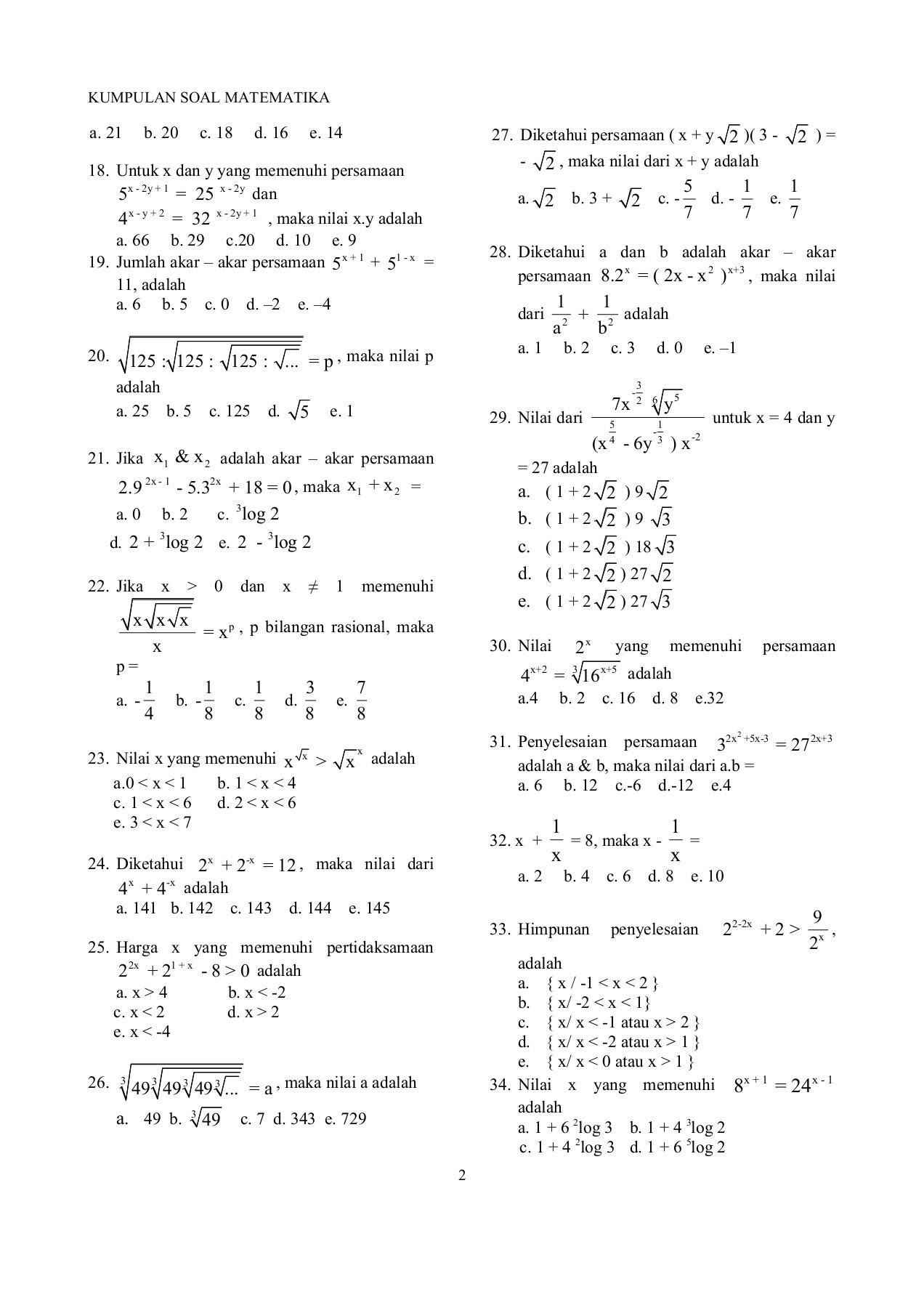 Modul Matematika Kumpulan Soal Akhir Kelas X XI XII Pages 1 50 Text Version