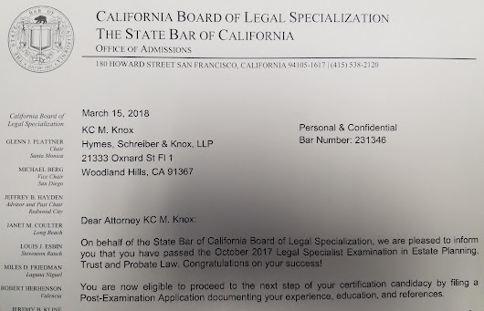 Attorney KC M. Knox Passes the Legal Specialist Exam