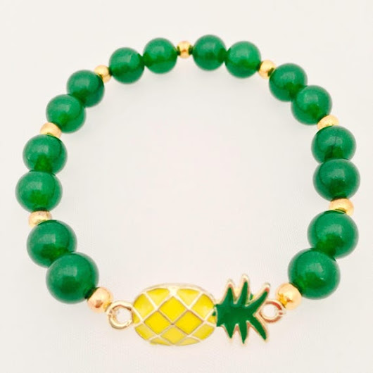 Gold pineapple bracelet  Pineapple bracelet  Food jewelry