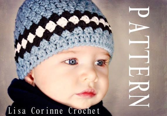 Baby Boy Hat Pattern Striped Beanie Cap Crocheted PDF Easy Modern Crochet Infant Hat Baby Fashion