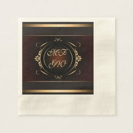 Monograms on rich decorative frame for Couple Paper Napkin