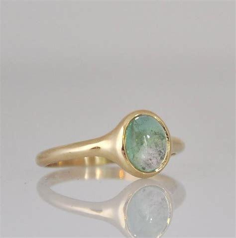 Green Tourmaline Ring , Engagement Gemstone Ring , 14k