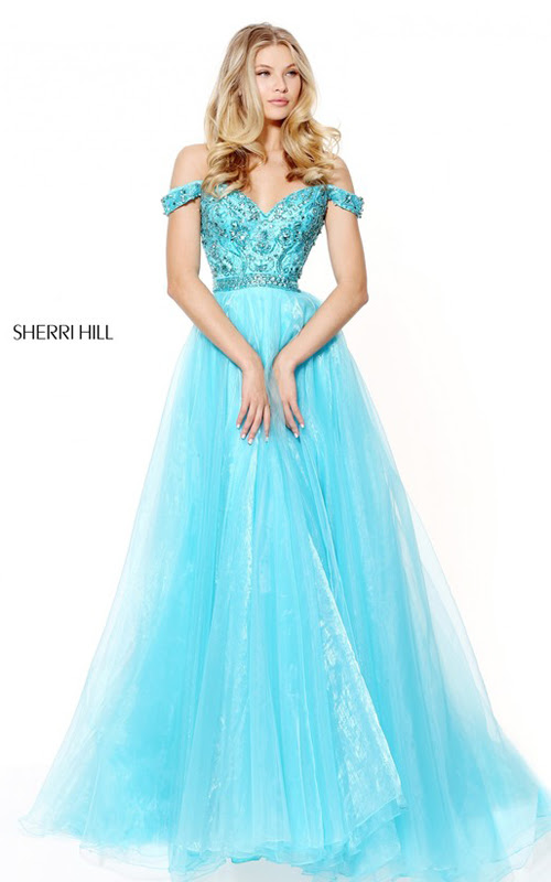 Sherri Hill 50832 Organza Beaded Cap Sleeve Prom Dress