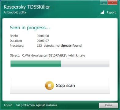 Kaspersky TDSSKiller scan