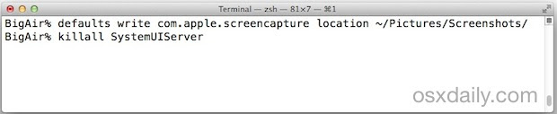 Change the screen shot save file location in Mac OS X
