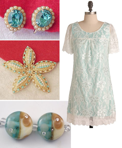 aqua vintage jewelry, lampwork beads and freshly minted dress from modcloth
