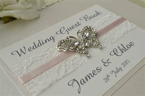 Diamante Butterfly Wedding Guest Book. Luxury Pearlescent