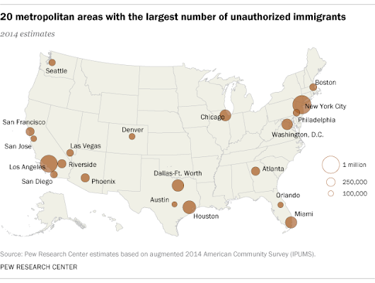 20 metro areas are home to six-in-ten unauthorized immigrants in U.S.