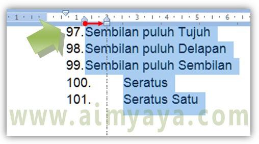 Gambar: Cara Memperlebar/memperbesar jarak  anatara nomor (numbering) dengan teks di microsoft word
