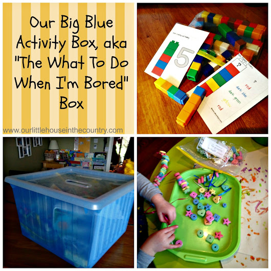 "Our Big Blue Activity Box, aka ""The What To Do When I'm Bored Box"" - 15 activity ideas"