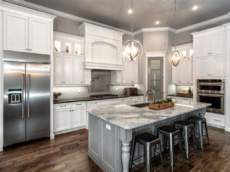 classic  shaped kitchen remodel  white cabinet