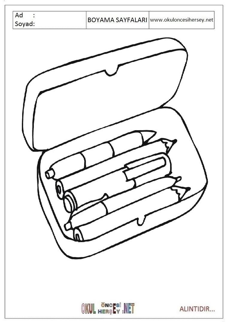 Kalem Kutusu Boyama Sayfaları