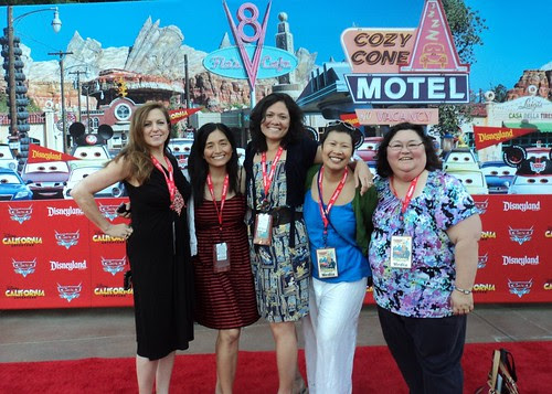 bonggamom and friends on the Disneyland Cars Land Red Carpet