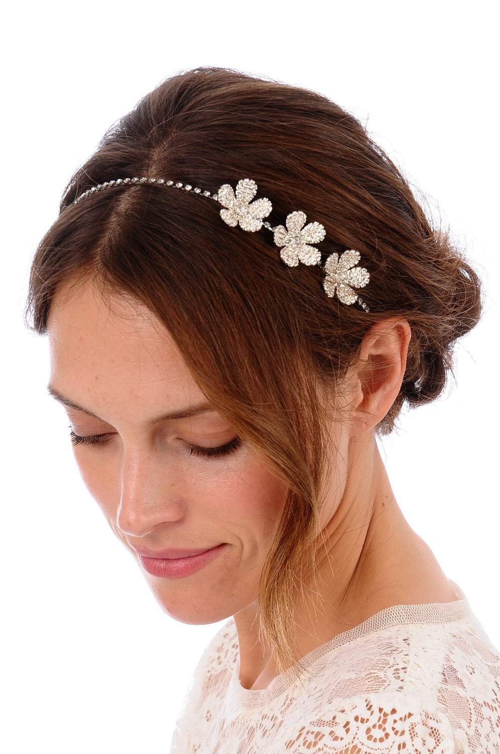079 - Triple Daisy Flower Headband- Crystal Headband, Rhinestone Headband, Wedding Headband, Bridal Headband, Wedding Headpiece