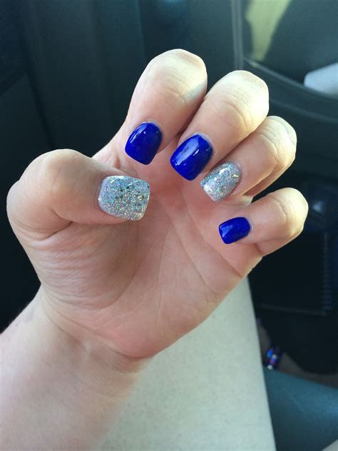 Royal blue with silver glitter nails   Nails in 2019