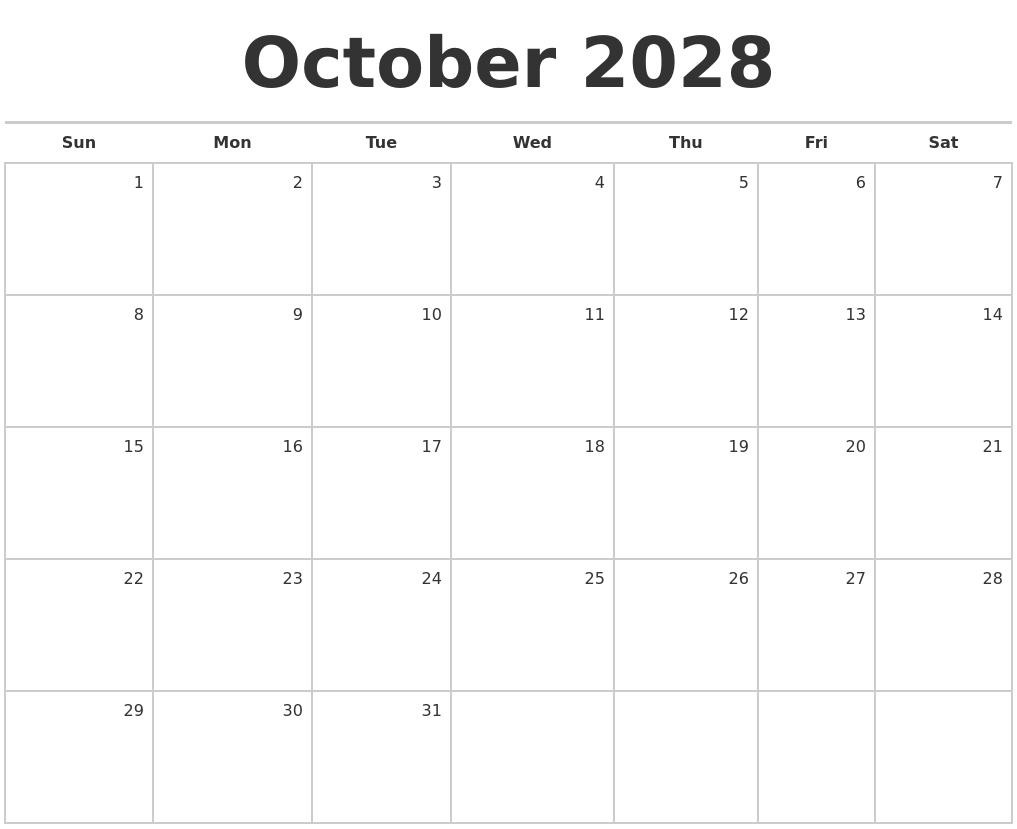 october 2028 blank monthly calendar