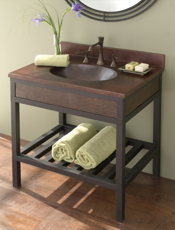 30 Inch Single Sink Bath Vanity with Iron and Copper ...