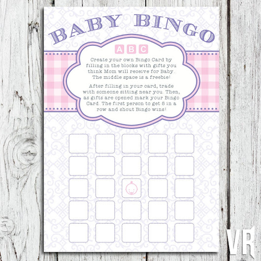 Baby Shower Games | Plaid Baby Bingo Activity Card | INSTANT DOWNLOAD - Print at home | Pink, Girl | 5x7 finished size