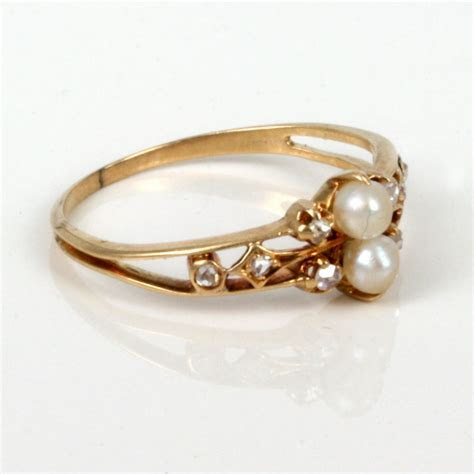 Buy Attractive antique diamond & pearl ring. Sold Items