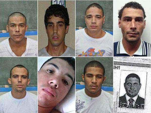 Foram divulgadas imagens de oito dos nove presos foragidos (SAPeJUS/Divulgação)