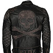 Skull and Bones Embossed Vintage Cowhide Leather Biker Jacket for Mens at Amazon Men's Clothing store: