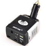 BESTEK 75W Power Inverter DC 12V to 110V AC Car Inverter Power Converter, 200 Watts of Peak Power (Black & Silver)