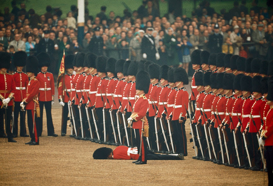 Irish Guards Remain At Attention After One Guardsman Faints In London, England, June 1966