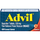 Advil Pain Reliever/Fever Reducer Ibuprofen Coated Tablets, 200 mg - 100 count