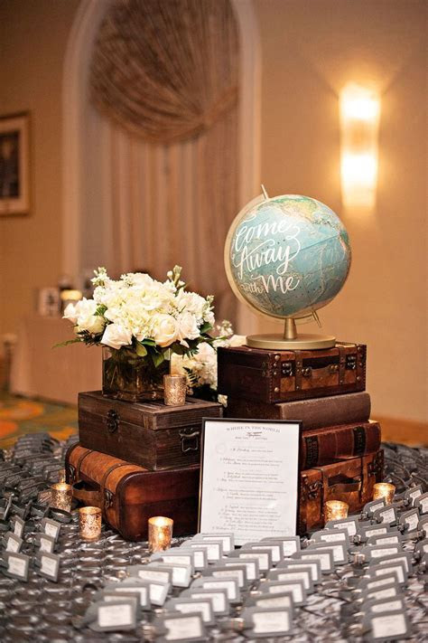travel themed table with guest book and eiffel tower   My