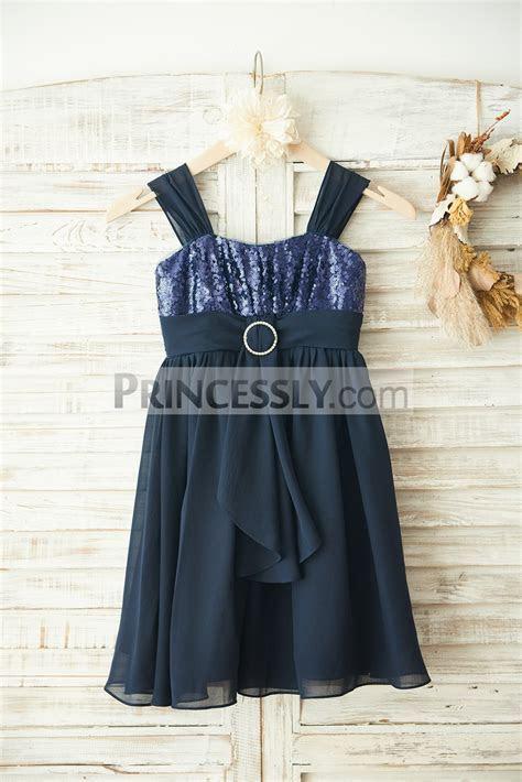 Boho Navy Blue Sequins Chiffon Overlay Flower Girl Dress