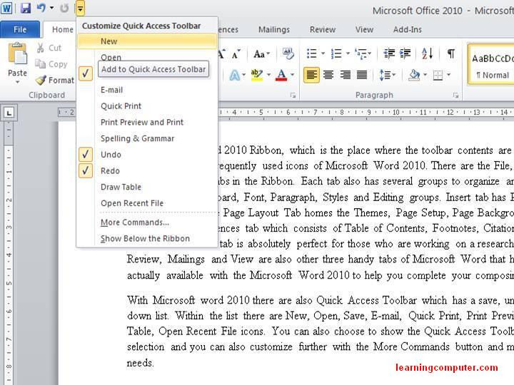 office 2010 microsoft quick access toolbar5