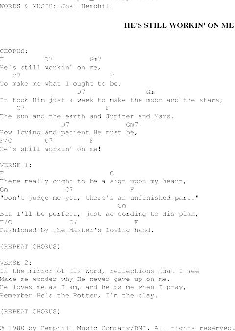 Hes Still Working On Me Lyrics